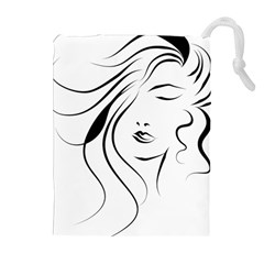 Womans Face Line Drawstring Pouches (extra Large)
