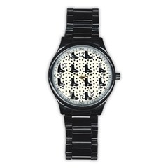 Deer Boots White Black Stainless Steel Round Watch