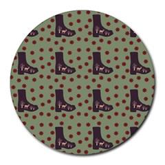Deer Boots Green Round Mousepads
