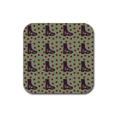Deer Boots Green Rubber Square Coaster (4 Pack)