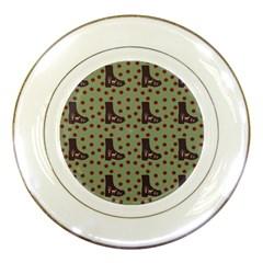 Deer Boots Green Porcelain Plates