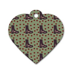Deer Boots Green Dog Tag Heart (one Side)