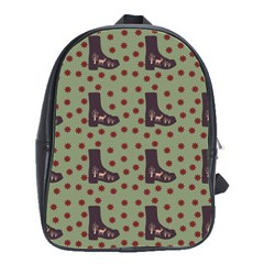 Deer Boots Green School Bag (large)
