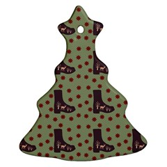 Deer Boots Green Christmas Tree Ornament (two Sides)