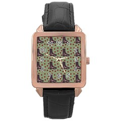 Deer Boots Green Rose Gold Leather Watch