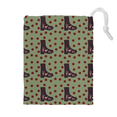 Deer Boots Green Drawstring Pouches (extra Large)