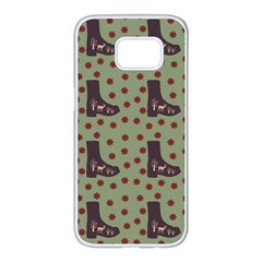 Deer Boots Green Samsung Galaxy S7 Edge White Seamless Case