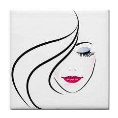 Makeup Face Girl Sweet Tile Coasters