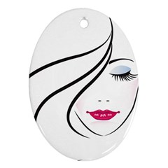 Makeup Face Girl Sweet Ornament (oval)