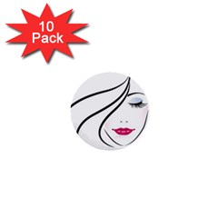 Makeup Face Girl Sweet 1  Mini Buttons (10 Pack)