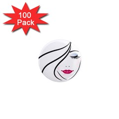 Makeup Face Girl Sweet 1  Mini Magnets (100 Pack)