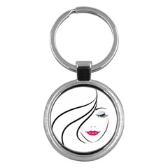 Makeup Face Girl Sweet Key Chains (round)