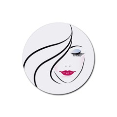 Makeup Face Girl Sweet Rubber Round Coaster (4 Pack)