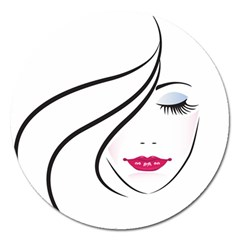 Makeup Face Girl Sweet Magnet 5  (round)