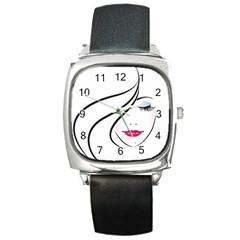 Makeup Face Girl Sweet Square Metal Watch
