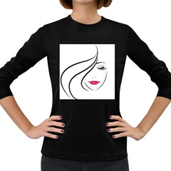 Makeup Face Girl Sweet Women s Long Sleeve Dark T Shirts