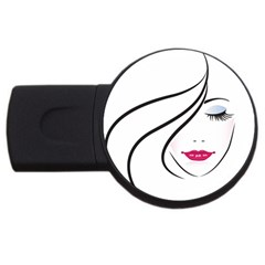 Makeup Face Girl Sweet Usb Flash Drive Round (4 Gb)