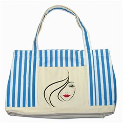 Makeup Face Girl Sweet Striped Blue Tote Bag