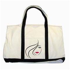 Makeup Face Girl Sweet Two Tone Tote Bag