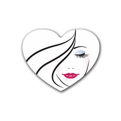 Makeup Face Girl Sweet Rubber Coaster (heart)