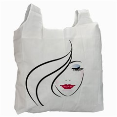 Makeup Face Girl Sweet Recycle Bag (one Side)