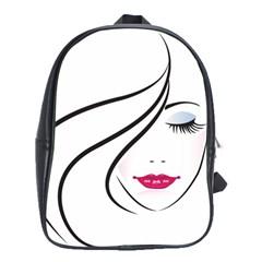 Makeup Face Girl Sweet School Bag (large)