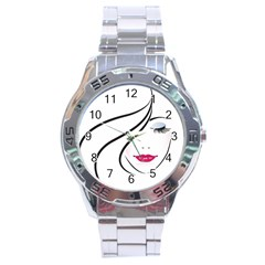 Makeup Face Girl Sweet Stainless Steel Analogue Watch
