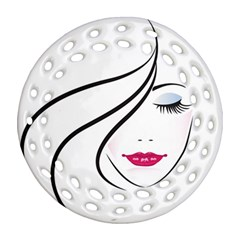 Makeup Face Girl Sweet Round Filigree Ornament (two Sides)
