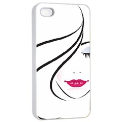 Makeup Face Girl Sweet Apple Iphone 4/4s Seamless Case (white)