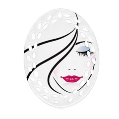 Makeup Face Girl Sweet Oval Filigree Ornament (two Sides)