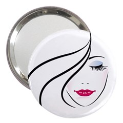 Makeup Face Girl Sweet 3  Handbag Mirrors
