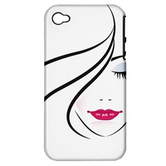 Makeup Face Girl Sweet Apple Iphone 4/4s Hardshell Case (pc+silicone)