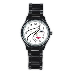 Makeup Face Girl Sweet Stainless Steel Round Watch