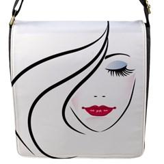 Makeup Face Girl Sweet Flap Messenger Bag (s)