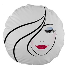 Makeup Face Girl Sweet Large 18  Premium Flano Round Cushions