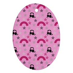 Music Stars Rose Pink Ornament (oval)