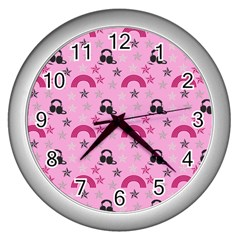 Music Stars Rose Pink Wall Clocks (silver)