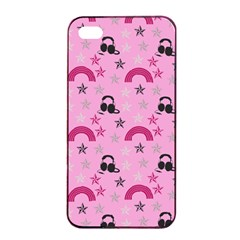 Music Stars Rose Pink Apple Iphone 4/4s Seamless Case (black)
