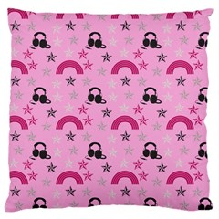 Music Stars Rose Pink Large Cushion Case (two Sides)
