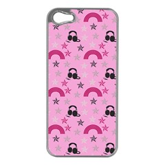 Music Stars Rose Pink Apple Iphone 5 Case (silver)