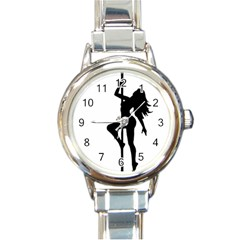 Dance Silhouette Pole Dancing Girl Round Italian Charm Watch