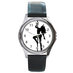 Dance Silhouette Pole Dancing Girl Round Metal Watch