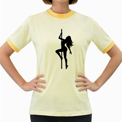 Dance Silhouette Pole Dancing Girl Women s Fitted Ringer T Shirts