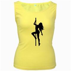 Dance Silhouette Pole Dancing Girl Women s Yellow Tank Top