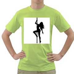 Dance Silhouette Pole Dancing Girl Green T Shirt