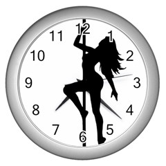 Dance Silhouette Pole Dancing Girl Wall Clocks (silver)
