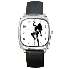 Dance Silhouette Pole Dancing Girl Square Metal Watch