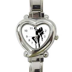 Dance Silhouette Pole Dancing Girl Heart Italian Charm Watch
