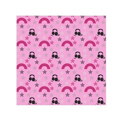 Music Stars Rose Pink Small Satin Scarf (square)