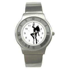 Dance Silhouette Pole Dancing Girl Stainless Steel Watch